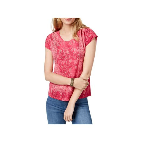 Lucky Brand Womens Pullover Top Printed Cap Sleeves