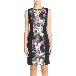 Betsey Johnson Sleeveless Floral Print Knit Sheath Dress 14