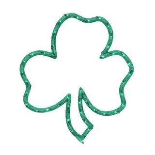 "16"" Lighted St. Patrick's Day Irish Shamrock Window Silhouette Decoration - Green"