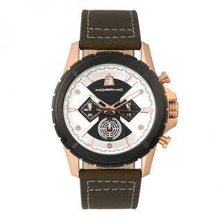 Morphic M57 Series Men's Quartz Chronograph Watch, Genuine Leather Band, Luminous Hands