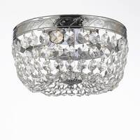"French Empire Crystal Flush Basket Chandelier Lighting H5"" X W13"""