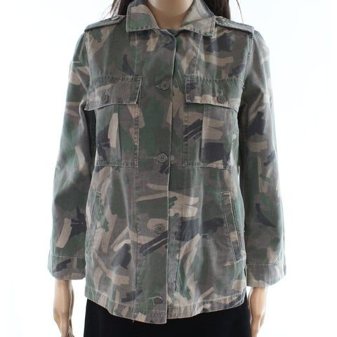 Whistles Green Womens Size XS Camouflage-Print Pocket Jacket