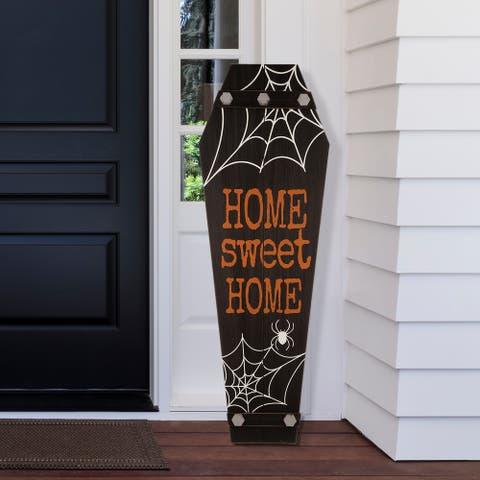 Glitzhome Halloween Wooden Coffin Porch Leaning Decor