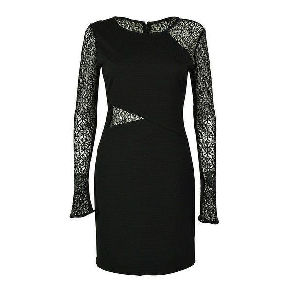 Shop Guess Womens Long Sleeves Illusion Dress Black On Sale