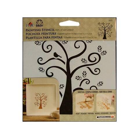 30610 plaid folkart painting stencil 6x6 curly tree