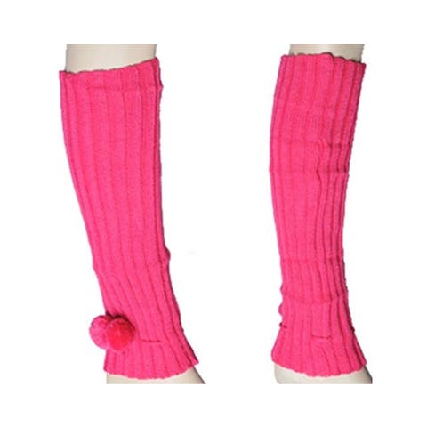 Women's Hot Pink Solid Color Knit Leg Warmer w/Pom-Pom Accents LW1020