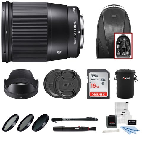 Sigma 16mm f/1.4 DC DN Contemporary Lens for Sony with SD Card Accessory Bundle