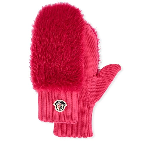 Moncler Womens Bright Pink Gloves Mittens