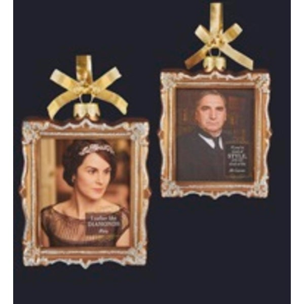 "4"" Downton Abbey Gold Glass Lady Mary Crawley and Mr. Carson Picture Frame Christmas Ornament"