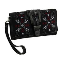 Embroidered Arrows Steer & Star Western Buckle Wallet with Removable Straps