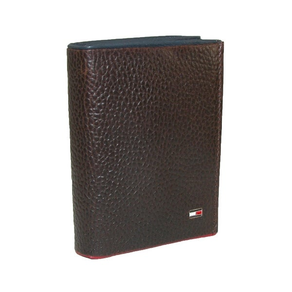 Tommy Hilfiger Men's Leather Raymond Trifold Wallet with Navy and Red Trim