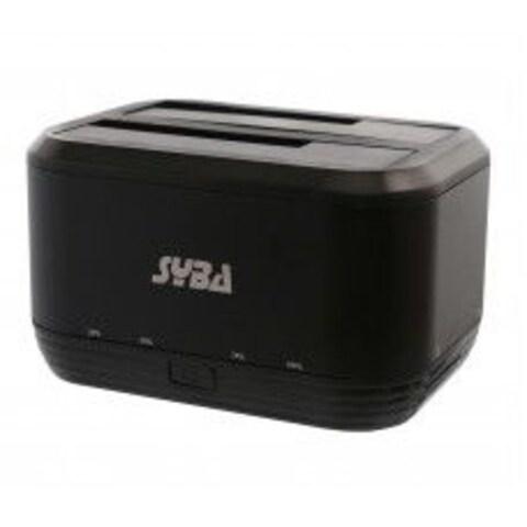 Syba Black USB 3.0 Dual Bay Support SATA3 2.5/ 3.5-inch HDD 8TB Clone Feature Metal Casing Jmicron JM561U Chipset HDD Docking