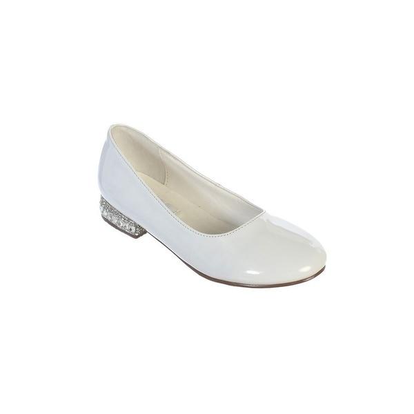 Shop Little Girls White Glitter Rhinestone Heel Patent Leather Flats ... 48fdbecc6474
