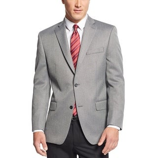 Michael Kors Mens Black and White Herringbone Classic-Fit Sportcoat 44R Jacket