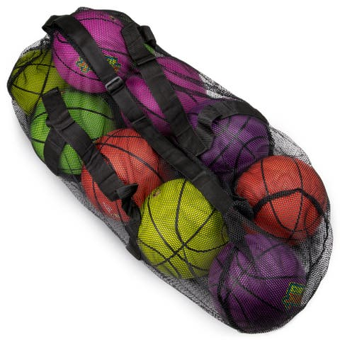 "39"" Mesh Sports Ball Bag with Strap, Black"
