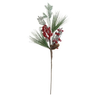 """31"""" Bells, Berries and Pine Cones Frosted Artificial Christmas Spray Branch"""