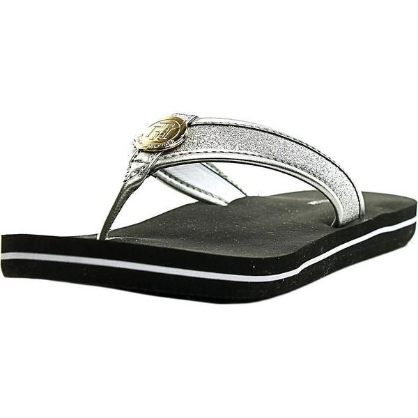 Tommy Hilfiger Clove Women Open Toe Synthetic Silver Thong Sandal