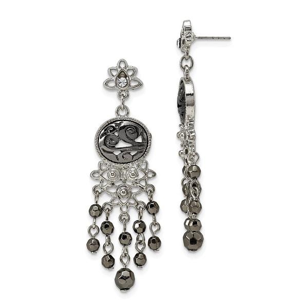 Silvertone Crystal Believe Leverback Earrings