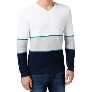 Michael Kors NEW Blue White Mens Size XL V-Neck Colorblock Sweater