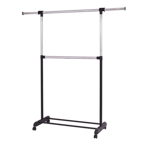 2 Rod Garment Rack Adjustable Clothes Hanger