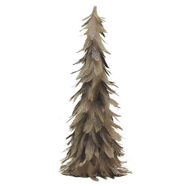 """15.5"""" Light Brown and Gray Glittered Feather Cone Tree Christmas Decoration"""
