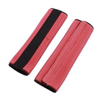 Vehicles Car Nylon Seat Belt Covers Shoulder Pads Red Black 2 Pcs