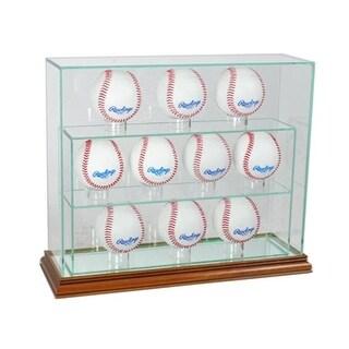 Perfect Cases 10UPBSB-W 12 Baseball Upright Display Case, Walnut