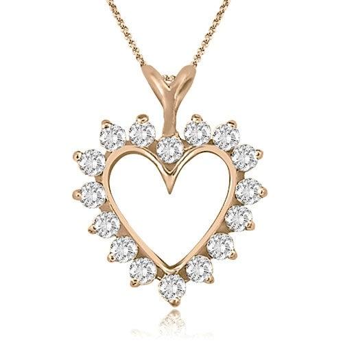 0.50 cttw. 14K Rose Gold Round Cut Diamond Heart Shape Pendant