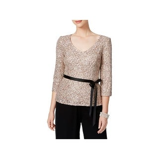 Alex Evenings Womens Blouse Lace Sequined
