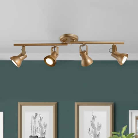 "Modern Adjustable 4-light Gold Linear Ceiling Track Lighting Kit for Kitchen - L29""xW5""x H 7.5"""