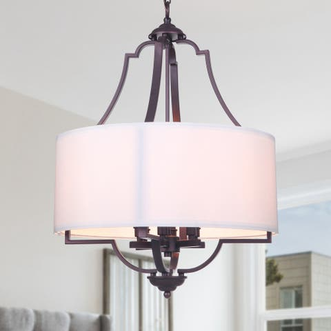 6-Light Oil-rubbed Bronze Drum Chandelier with White Fabric Shade - Oil-rubbed Bronze