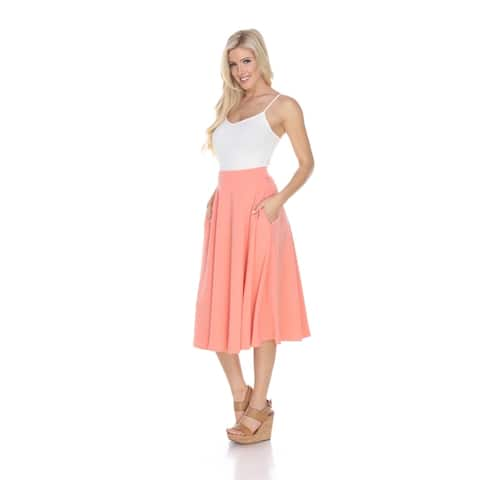 Midi Skirt With Pockets - Coral