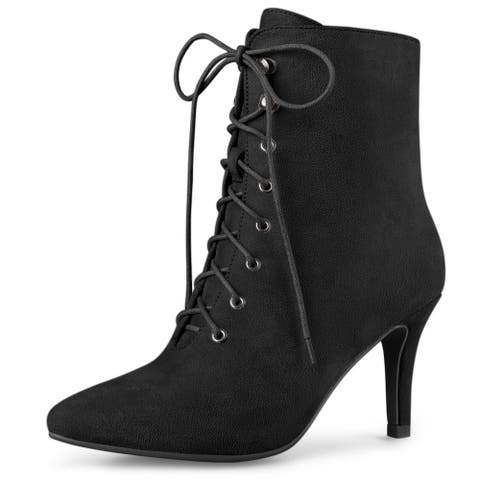 Women's Pointy Toe Zip Lace Up Stiletto Heel Ankle Boots