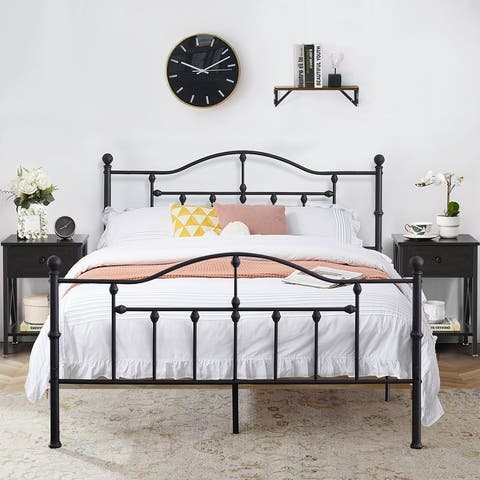 Taomika 3 Pieces Metal Bed Frame with Headboard and Nightstands Bedroom Sets