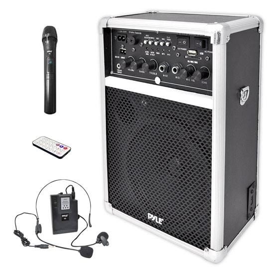 Dual Channel 400 Watt Wireless PA System W/USB/SD/MP3, 2 VHF Wireless Microphones (1 Lavalier, 1 Handheld)