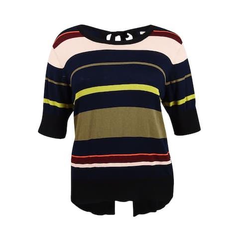 RACHEL Roy Trendy Women's Plus Size Bow-Back Sweater (2X, Flame Combo) - Flame Combo - 2X