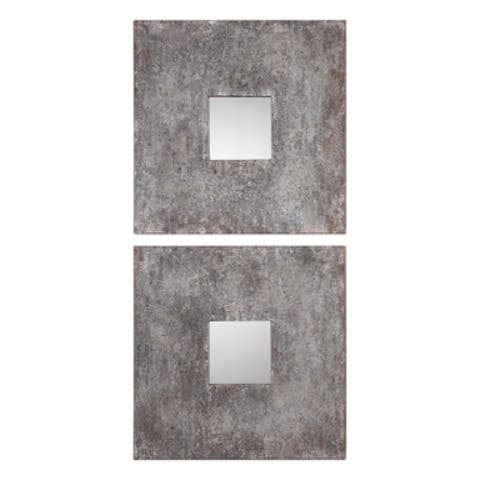 """Set of 2 Burnished Square Mirrors 20"""""""