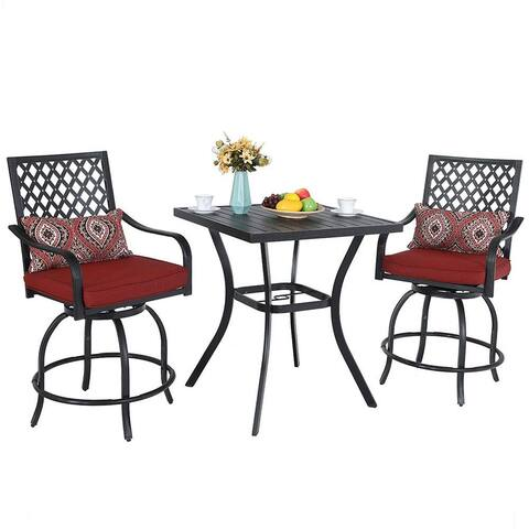 "PHI VILLA Patio Bar Set, 3 pcs Outdoor Metal Bar Set with 2 Swivel Cushioned Stools & 31"" Square Patio Bar Table"
