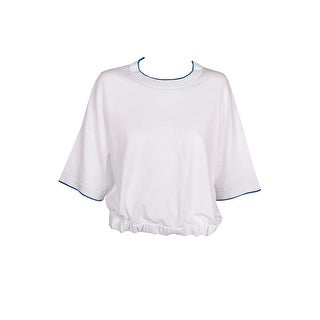 Dkny Electric White Blue Cropped Drawstring Sweater L