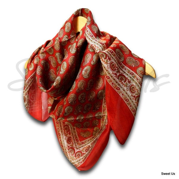 Large Scarfs for Women Lightweight Soft Sheer Neck Scarf Head Scarf Summer Silk Paisley Floral Scarf Blue, Black, Red