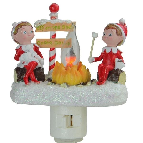 "4.5"" Elf on the Shelf North Pole Elf Campfire Site Flickering Christmas Night Light"