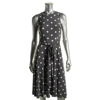 Lauren Ralph Lauren Womens Petites Wear to Work Dress Matte Jersey Polka Dot