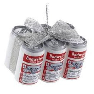 """1.75"""" Budweiser® Vintage 6-Pack Cans with Glittered Silver Bow Decorative Christmas Ornament"""