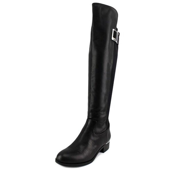 Calvin Klein Cyra Wide Calf Women Round Toe Synthetic Black Knee High Boot