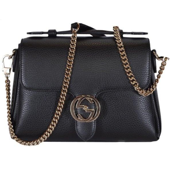 1512c47f3ea507 Gucci 510302 Black Leather Interlocking GG Clasp Convertible Purse Handbag