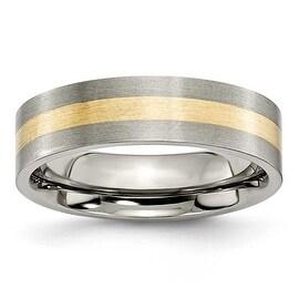 Chisel 14k Gold Inlaid Flat Brushed Titanium Ring (6.0 mm) - Sizes 6-13