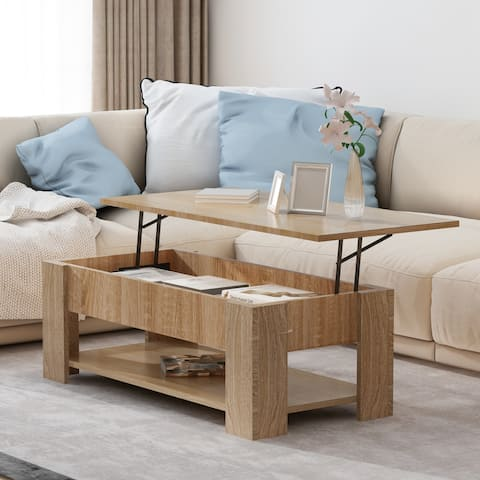 Lifting Top Coffee Table Desk with Storage
