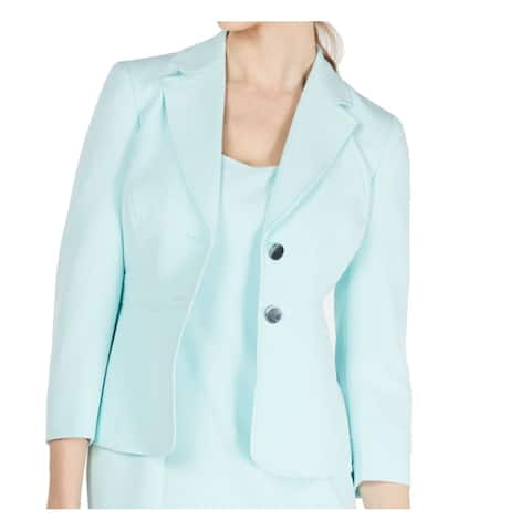 Kasper Womens Jacket Classic Mint Blue Size 16 Stretch Crepe 2 Button
