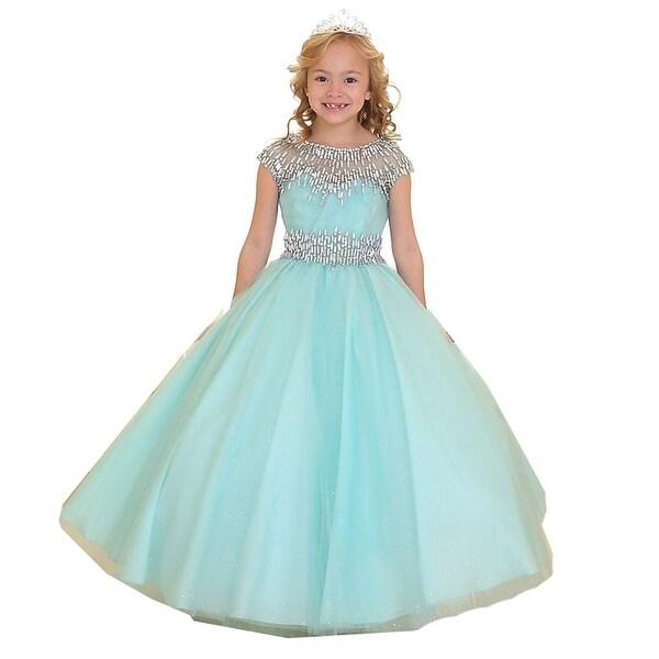 e5de5b4b Shop Little Girls Aqua Sparkle Accents Organza Pageant Dress 3T-6 - Free  Shipping Today - Overstock - 18162704