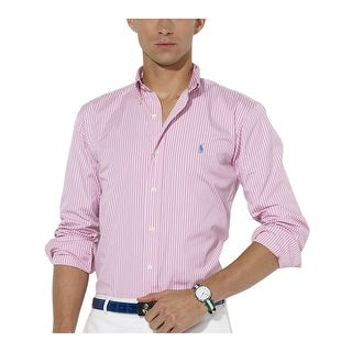 Ralph Lauren RL Custom Fit Striped Button Down Shirt Pink/White XX-Large